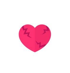 broken heart flat icon on white vector image