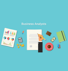Business analysts with businessman working on vector
