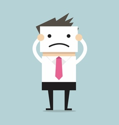 Businessman hide his real face holding bad mood vector