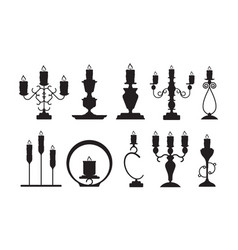 candlestick silhouettes black shapes of vector image
