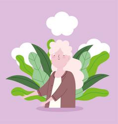 cartoon grandmother long hair old woman character vector image