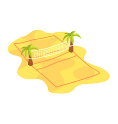 Cartoon icon of volleyball net on coconut trees on vector