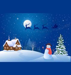 christmas night snowman vector image