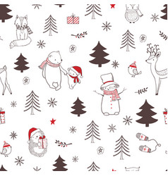 Christmas seamless pattern with cute animals vector