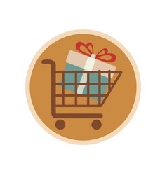 circular emblem with shopping cart with gift vector image