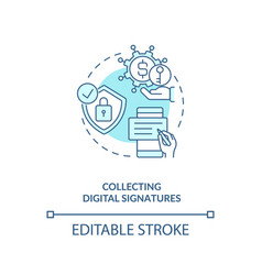 Collecting digital signatures concept icon vector