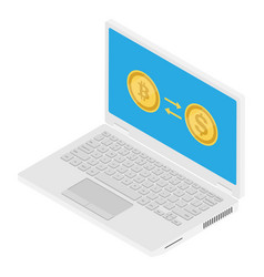 crypto currency exchange concept convert bitcoin vector image