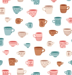 Cute mugs pattern vector image