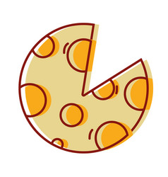 Delicious slice of pizza food vector