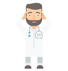 Doctor clutching his head vector