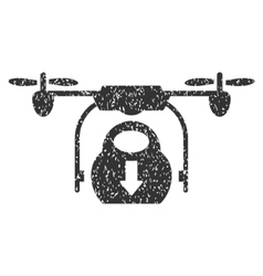 Drone Drop Cargo Grainy Texture Icon vector image