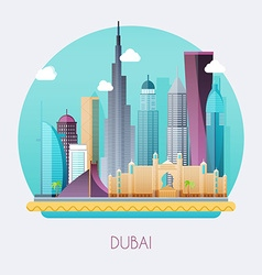 Dubai Skyline and landscape of buildings and vector image