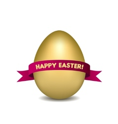 Easter golden egg with red ribbon isolated on vector image