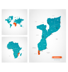 Editable template map mozambique with marks vector
