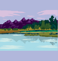Flat design landscape mountain and lake views vector