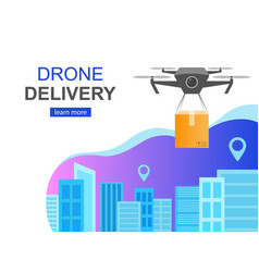 Flying drone delivery box and cityscape big city vector