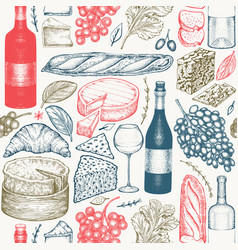 French food seamless pattern hand drawn picnic vector