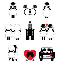 Gay woman wedding 2 icons set vector image