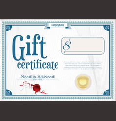 Gift certificate with golden seal and design vector