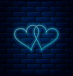 Glowing neon two linked hearts icon isolated on vector