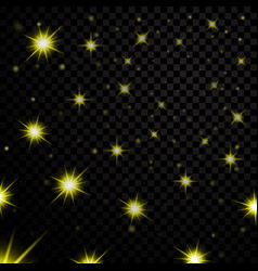 Gold light stars on black transparent background vector