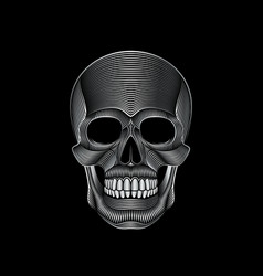 Graphic print of stylized silver skull on black vector