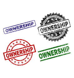 Grunge textured ownership seal stamps vector