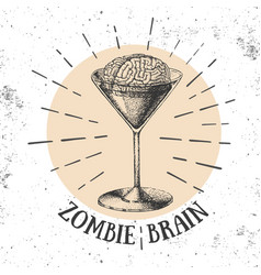 halloween hand drawn cocktail zombie brain vector image