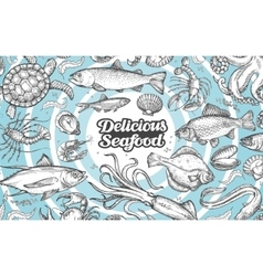 Hand drawn seafood food Vintage vector