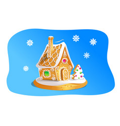 Hand drawnin gingerbread house isolated on blue vector
