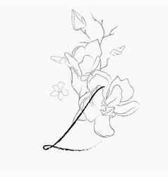 Handwritten line drawing floral logo monogram l vector