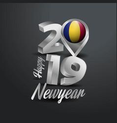 Happy new year 2019 grey typography with romania vector