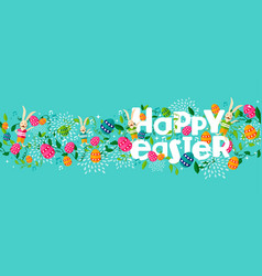 Happy spring easter holiday web banner with bunny vector