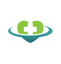 heart medical cross logo design vector image