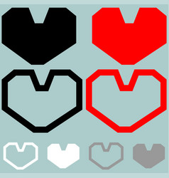Heart red black white colour vector
