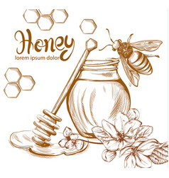 Honey bees jar line art retro vintage old vector