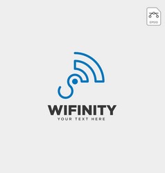 infinity wifi connection logo template icon vector image
