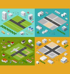 Isometric set 3d city vector