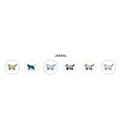 Jackal icon in filled thin line outline vector