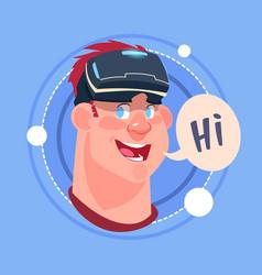 Man hi male emoji wearing 3d virtual glasses vector