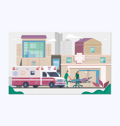 medicine ambulance concept in flat style vector image