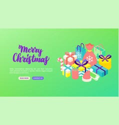 merry christmas lettering banner vector image