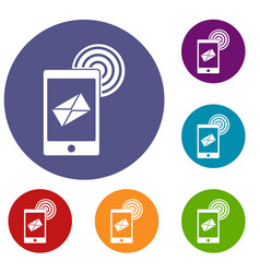 Mobile mail sign icons set vector