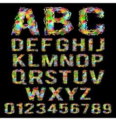 Multicolored geometric polygonal broken alphabet vector