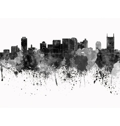 Nashville skyline in black watercolor on white vector image