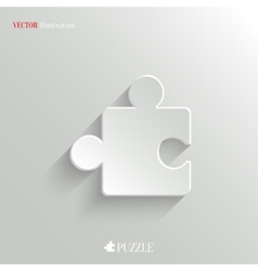 Puzzle icon - white app button vector image