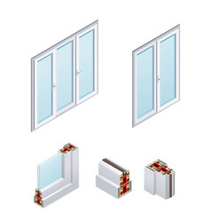 pvc windows isometric icons vector image