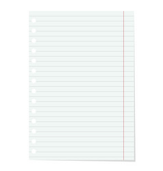 realistic lined notebook sheet vector image