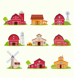 retro rustic houses and barns set windmills vector image