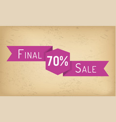 ribbon with shopping sale discount or price off vector image